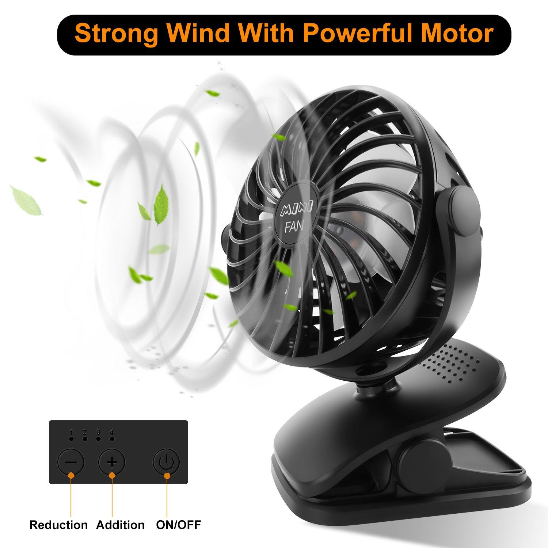 ESEOE Clip on Fan, USB Or 2600mAh Rechargeable Battery Operated Fan Small Desk Fan with 4 Speeds, 360 Degree Rotation Portable Stroller Fan for Baby S (Black) by ESEOE (Image #3)