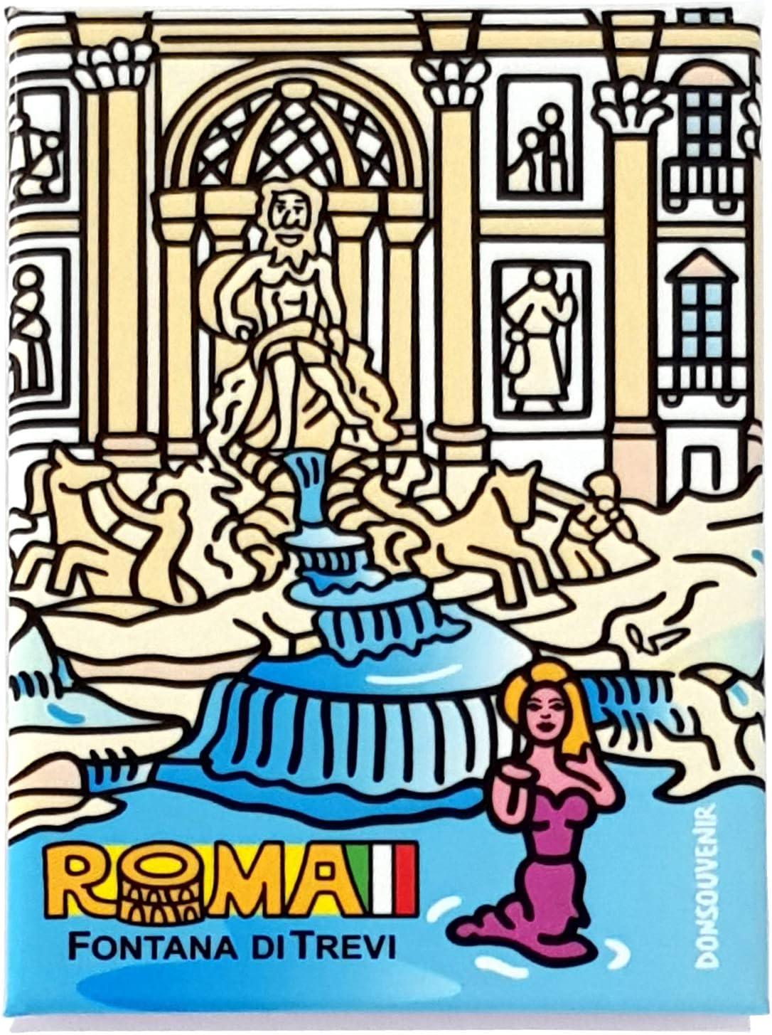 DONSOUVENIR MAGNETICO Fontana DI Trevi IMAN Roma Originale.