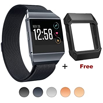 For Fitbit Ionic Bands with Case, BRG for Fitbit Ionic Accessories Womens Men Stainless Steel Milanese Loop Replacement Metal Band with Adjustable ...