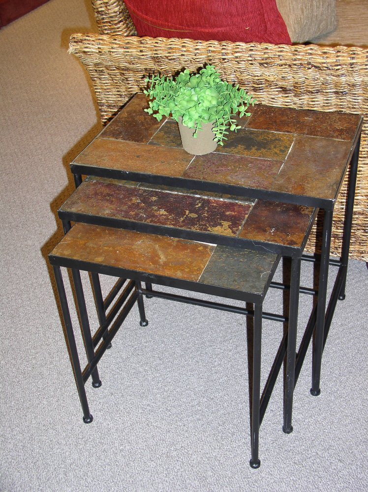 Black 3 Piece Nesting Tables With Slate Top by 4D Concepts