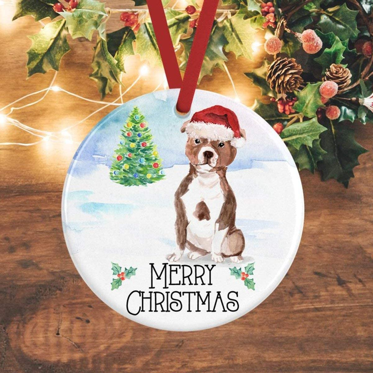 Yilooom Christmas Tree Decor Gift Idea Staffie Ornament Staffordshire Terrier Christmas Decoration Personalised Dog Decoration Staffie Gifts Staffie Amazon Co Uk Kitchen Home