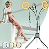 Standing Selfie Ring Light with Tripod Stand - Dimmable Double Light Circle Glamcor Light Barber Ringlight for Tattoo…