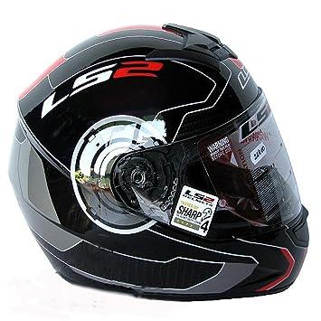 Casco de la Motocicleta LS2 FF351 ATMOS Casco de Carreras Casco integral NEGRO/ROJO (