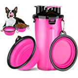 HETH Dog Travel Water Bottle, 2 in 1 Portable Dog Water Dispenser and Food Container with 2 Collapsible Bowls for Your…