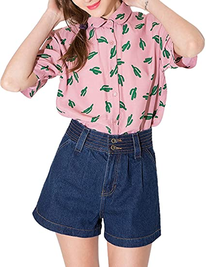 b63db9c60a0 Richlulu Womens Pink Cactus Printted Short Sleeve Lapel Top Shirt Blouse at  Amazon Women's Clothing store: