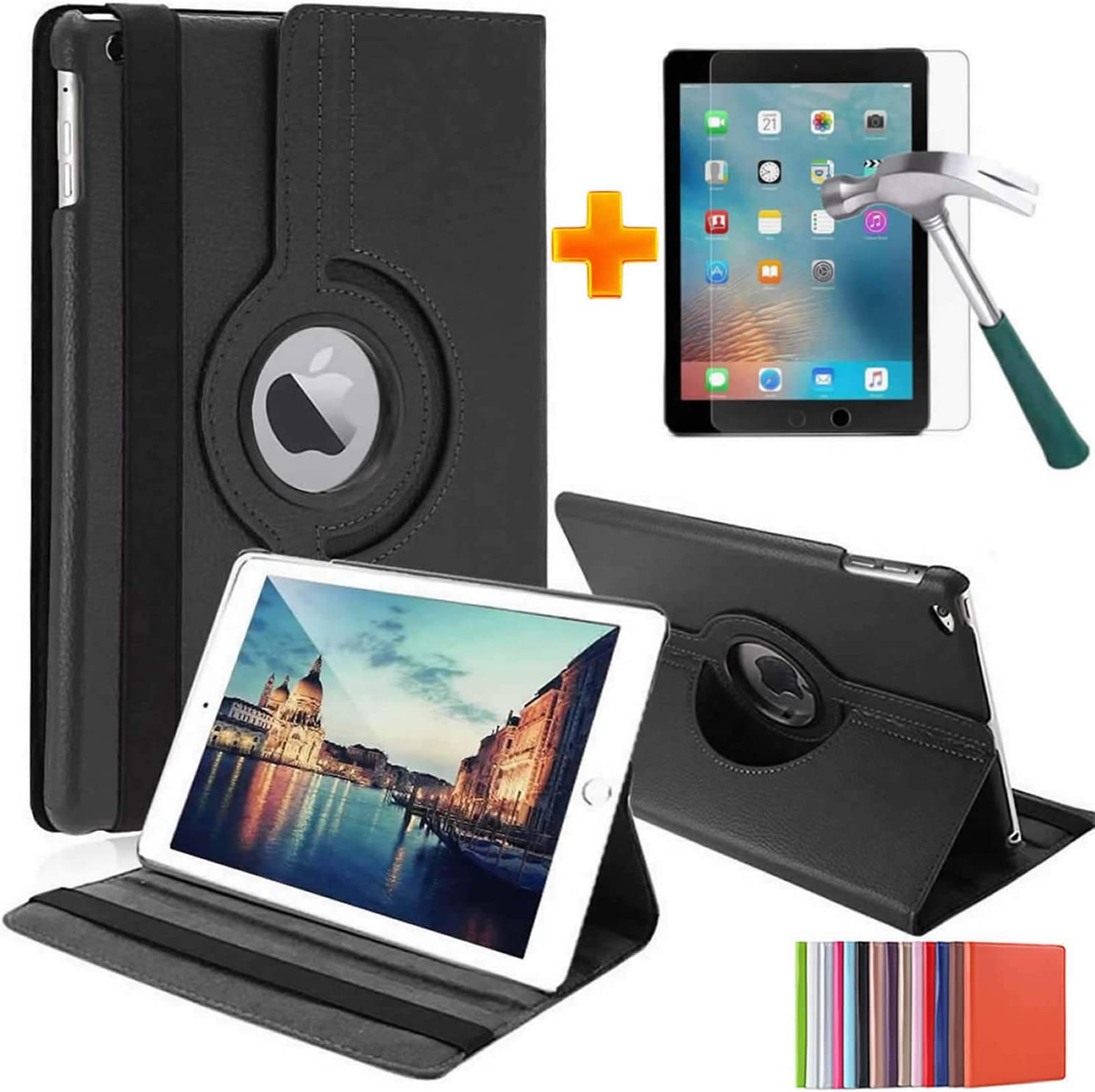HualuBro Case for iPad 10.2 2019 (7th Generation), 360 Degree Rotating PU Leather Stand Protective Case Cover with Tempered Glass Screen Protector for Apple iPad 7th Gen 2019 (Black)