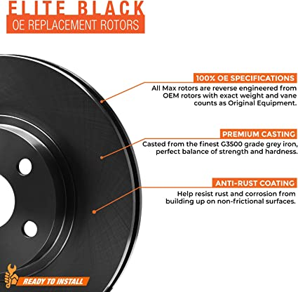 Max Brakes Front E-Coated Slotted Drilled Rotors w//Ceramic Pads Elite Brake Kit KT179481 Fits 2009 Ford F-150 w// 6 mounting holes