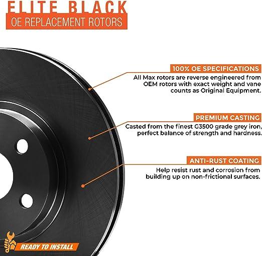 E-Coated Slotted Drilled Rotors + Ceramic Pads Max Brakes Front Elite Brake Kit KT004881 Fits: 2002 02 2003 03 2004 04 Honda CR-V