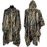 LOOGU Military Multifunction Realtree Camouflage Waterproof Rain Poncho for Adults
