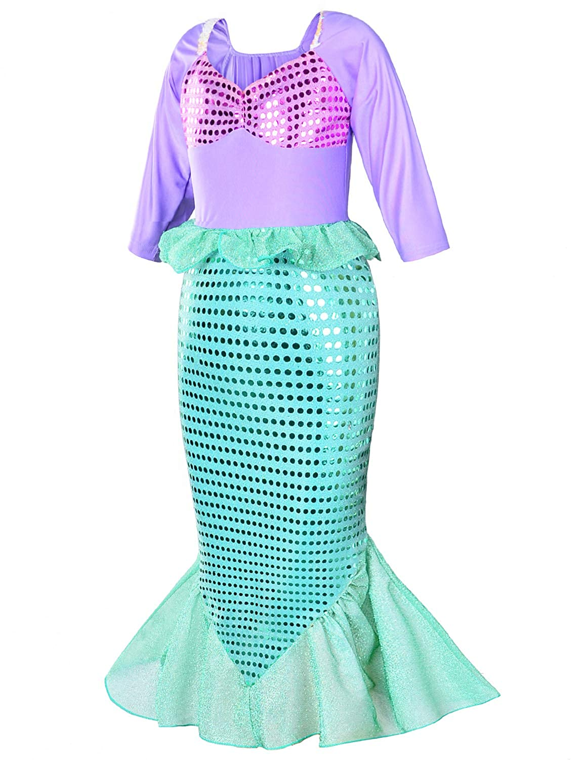 Girls Little Mermaid Costume Princess Dress Up For Birthday with Accessories Crown+Wand 3-10 Years