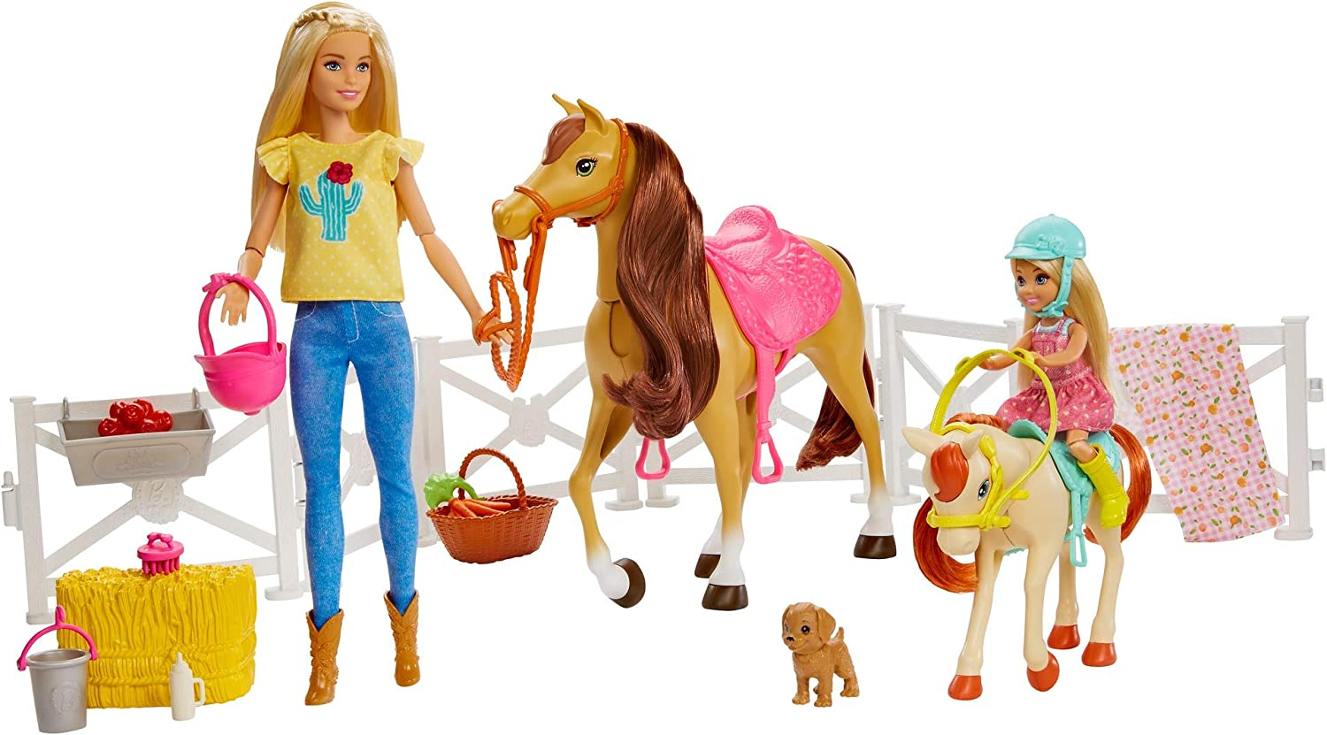 Barbie Playset and Chelsea Blonde Dolls, 2 Horses with Bobbling Heads and 15+ for Kids 3 Years Old and Up