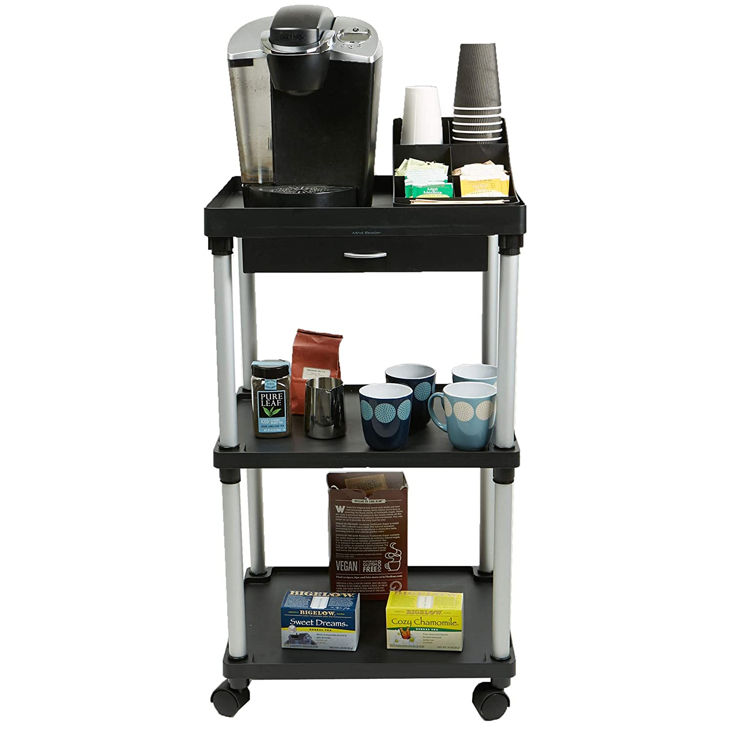 Mind Reader All Purpose Rolling Cart, Printer Cart, Utility Cart, Kitchen Cart, Coffee Cart, Microwave Cart, Bathroom Cart, 3 Tier, Black with Free Condiment Organizer