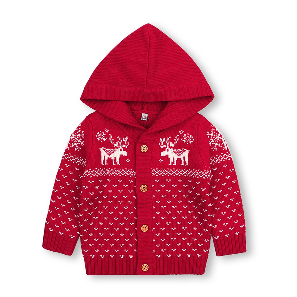 mimixiong Baby Christmas Sweater Toddler Reindeer Knitted Red Clothes