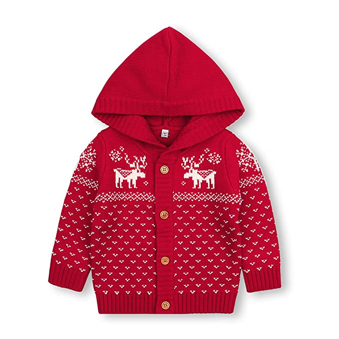 mimixiong baby christmas sweater toddler reindeer knitted hooded cardigan red coats 0 6months