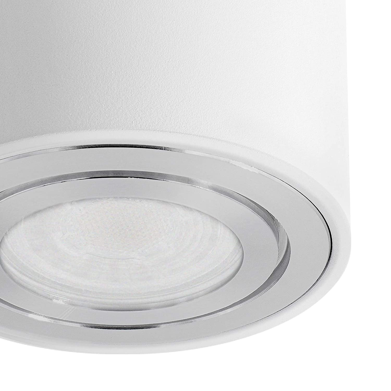 4x Aufbau Deckenlampe inkl SSC-LUXon CELI-3W Aufbaustrahler LED Bad IP44 4er Set wei/ß wechselbarem LED GU10 5W warmwei/ß