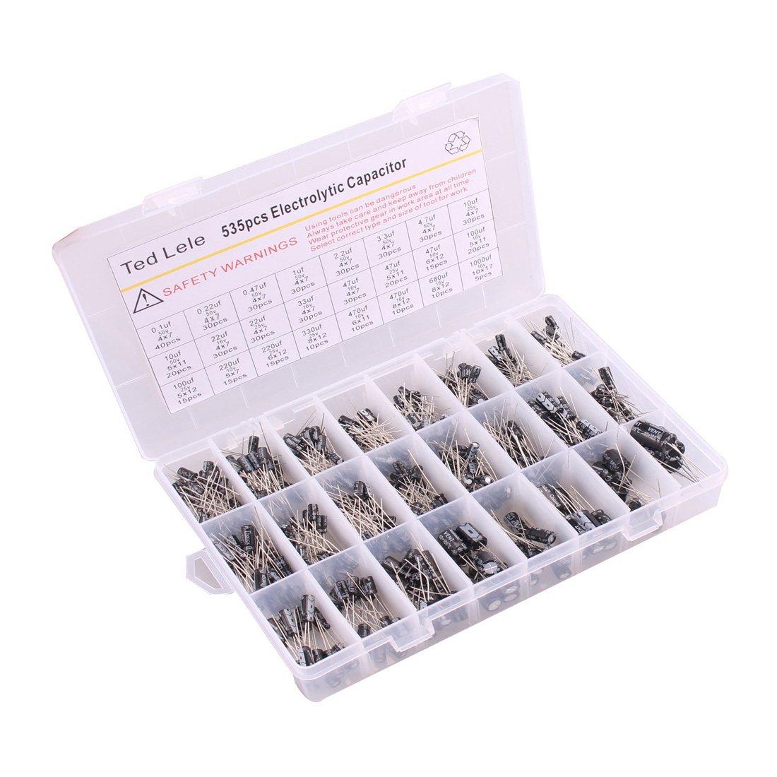 Ted Lele 535pcs(0.1uF-1000uF) Electrolytic Capacitors Assortment Kit, for Computer Motherboard, TV, Speaker, 24 Values (Black) (kit A)