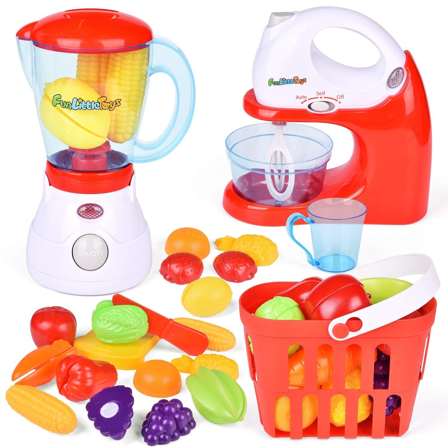 B07Z1WR5VR FunLittleToy Kids Play Kitchen, Pretend Play Set with Mixer, Blender, Play Foods and Accessories 71PZ2ruk8fL