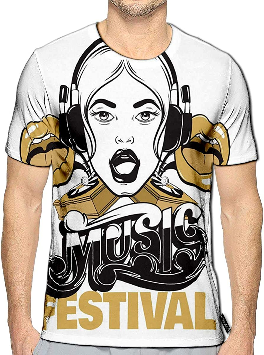 Randell 3D Printed T-Shirts Heart Made Up of Musical Notes Short Sleeve Tops Tees