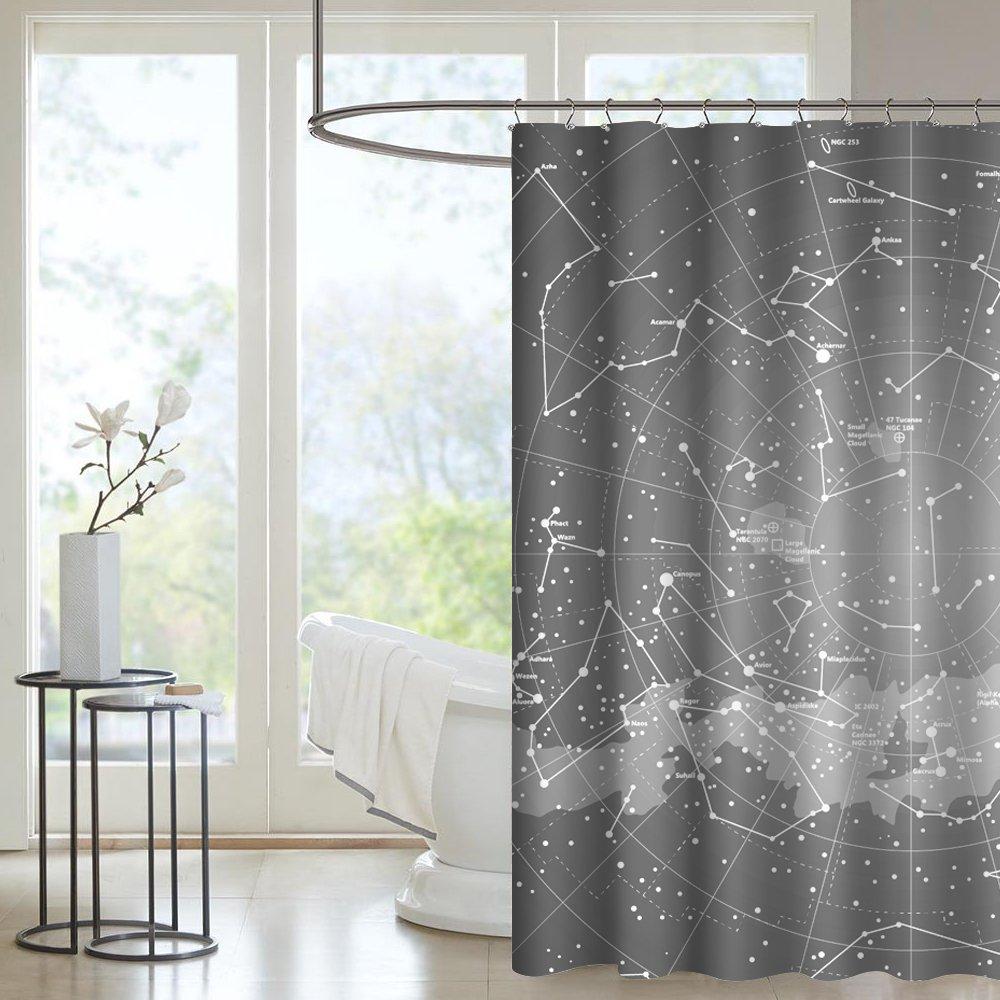 Seavish Bathroom Shower Curtain Black And Grey World Map Fabric Waterproof Mildew Resistant Bath