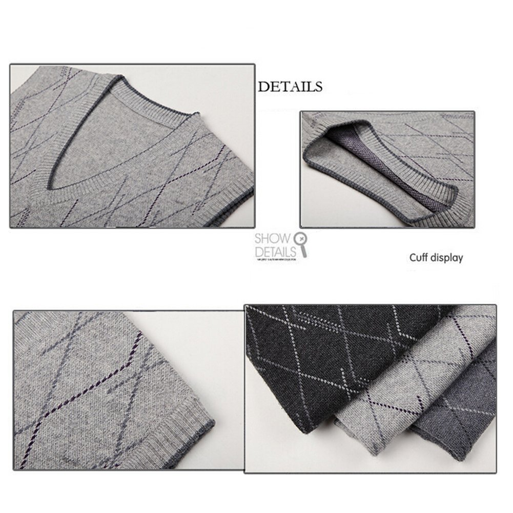Lisianthuas Mens' Argyle V-Neck Sweater Vest Color Dark Grey Size M by Lisianthus (Image #3)