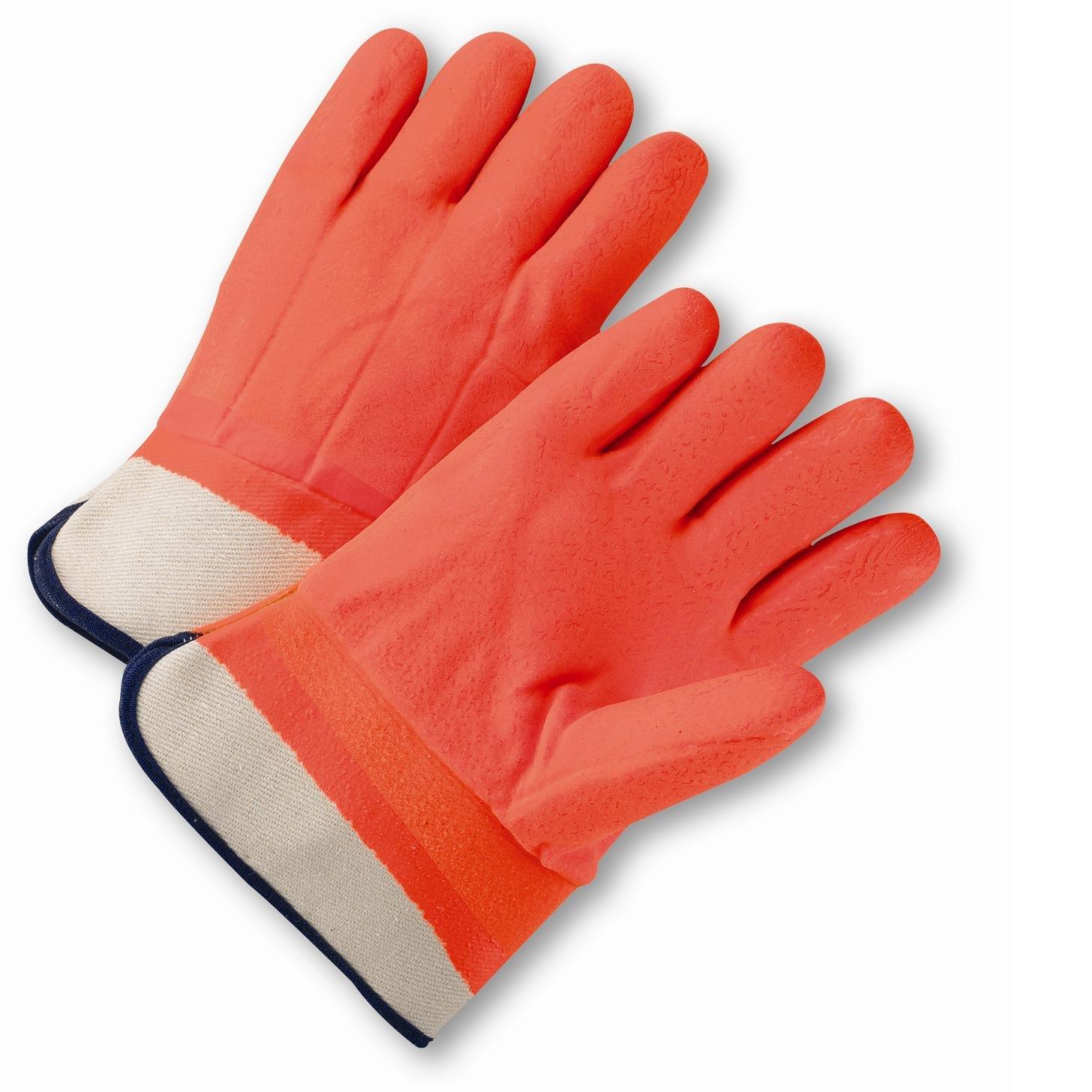 West Chester 1017ORF Safety Orange PVC Coated Gloves, Large