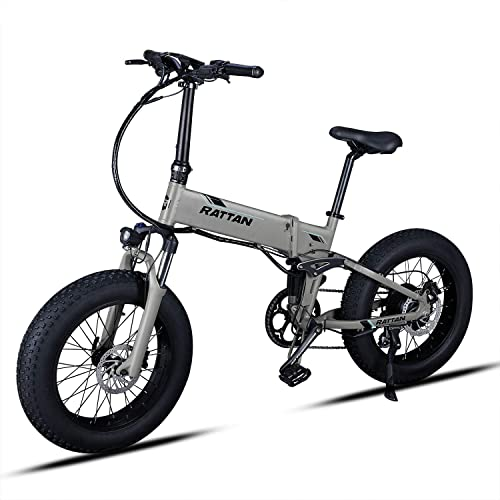 Rattan IPAS Ebike Electric Mountain Bikes Rattan Fat Bear Full Suspension Fat Tire Snow Tyre 48V 500W Motor 8 Speed 11.6 Ah Lithium Battery Foldable Electric Bike Adults Assisted EBike Plus