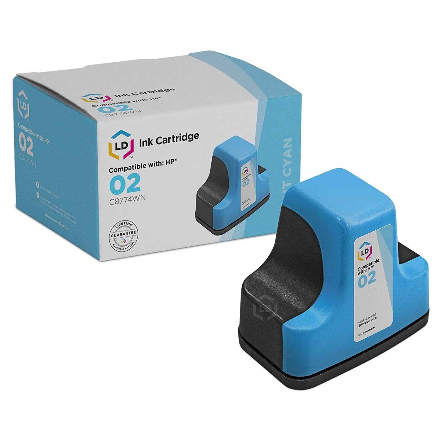Amazon.com: LD © Remanufactured Replacement Ink Cartridge for Hewlett  Packard C8774WN (HP 02) Light Cyan: Office Products