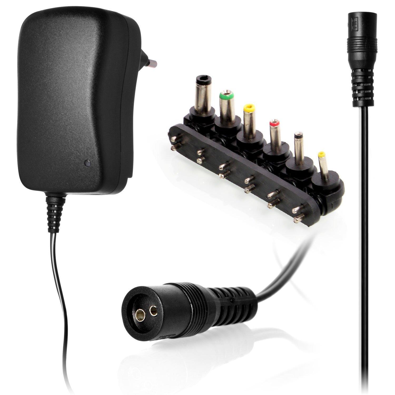waukru Fuente de alimentació n conmutada cargador 3/4,5/5/6/7.5/9/12 V 2.5 A 30 W, 6 Conector | adaptador de viaje, conmutable 3 –  12 V con puerto USB (2500ma) 5/5/6/7.5/9/12V 2.5A 30W