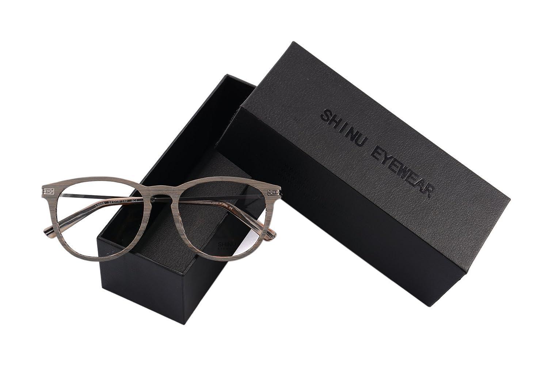 SHINU Retro Wood Print Frame Eyeglasses Vintage Clear Lens Eyewear-I5056