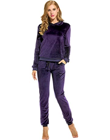 851559f0e25c Hotouch Women s Solid Velour Sweatsuit Set Hoodie and Pants Sport Suits  Tracksuits