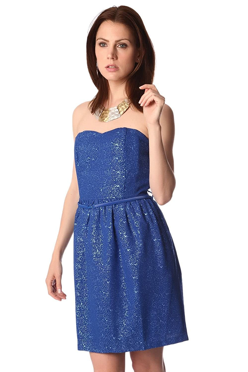 Q2 Women's Electric blue strapless party dress
