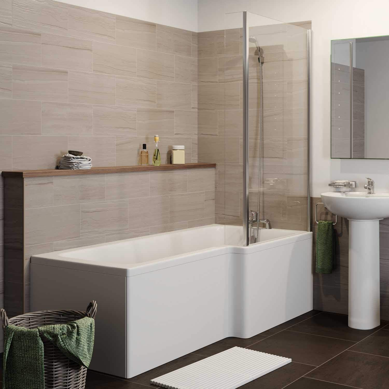 ESSENTIALS Baño Suite Cerrado Lavabo de baño Pedestal en Forma de L RH Mampara de Ducha: Amazon.es: Hogar
