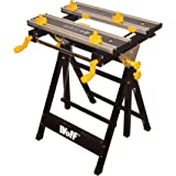 Wolf Craftman's Adjustable 6 Height Super Clamp Workbench Fold Down Workmate Steel Frame Tilting Aluminium Top