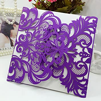 Amazon hd 60pcs purple wedding invitations cards laser cut hd 60pcs purple wedding invitations cards laser cut birthday party invites for marriage engagement bridal shower filmwisefo