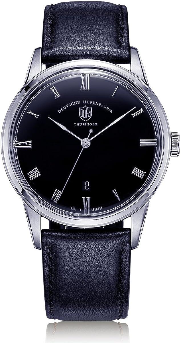 Reloj Cuarzo Dufa Deutsche Uhrenfabrik para Unisex con Azul Analogico Y 0 Cuero Weimar DF-9008-03 Quartz
