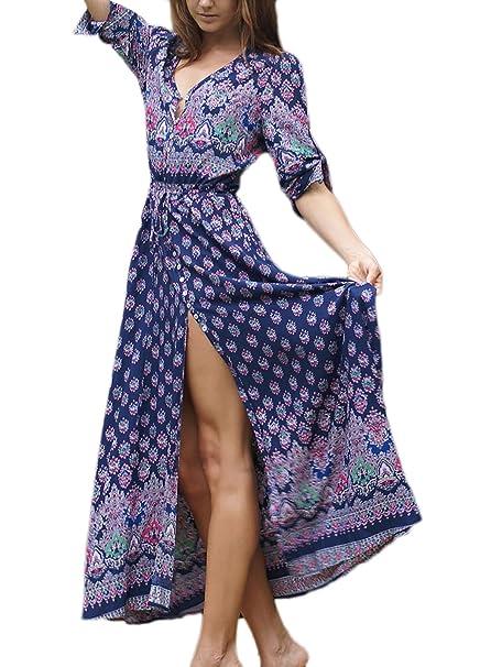 b5f1ba0315f5 Targogo Vestiti Donna Eleganti Estivi Ragazze Abito Da Spiaggia Cerimonia  Mare Lunghi Vintage Stile Etnico Bohemian