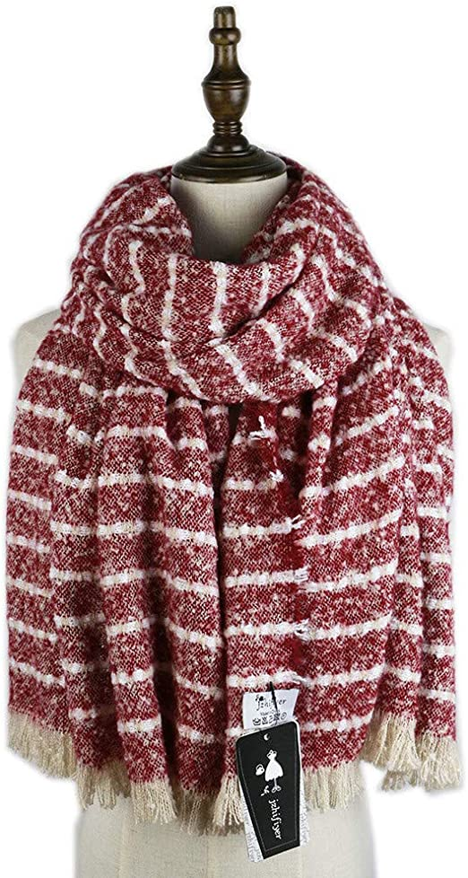 TALLA 175cmmore thaño. AiNaMei Bufanda de punto de rayas gruesas de otoño e invierno para hombres y mujeres chal grueso