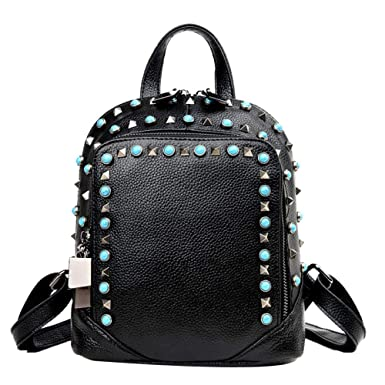 7b8334561e30 Amazon.com  Kin Soft Leather Backpack Purse For Women Fashion Travel Bag  Daypack Rucksack Casual Backpack (Color   Black