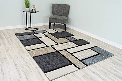 Premium 3D Hand Carved Thick Modern Contemporary Abstract Rug Design 3995 Beige Grey 2 7 x4
