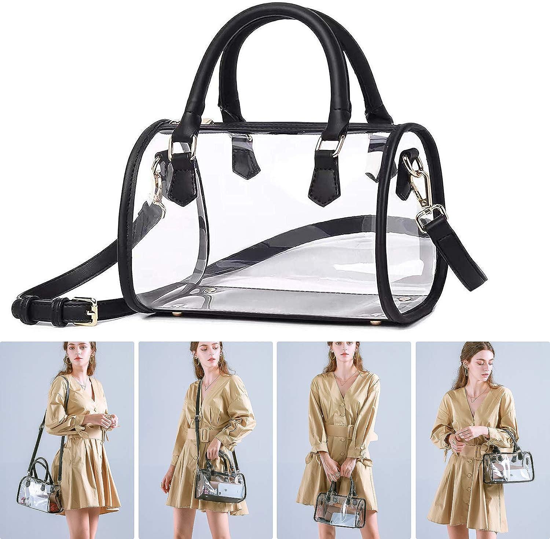 Large Clear PVC Plastic Purse Crossbody Zipper Bag for Women Adjustable Shoulder Strap Stadium Approved