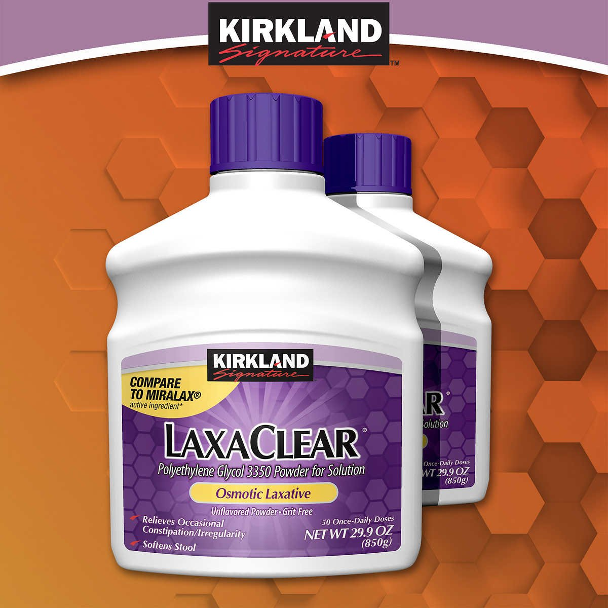 Kirkland LaxaClear, 90 Daily Doses, Polyethylene Glycol 3350 (6 Pack), Compare to Miralax Active Ingredient by Kirkland Signature