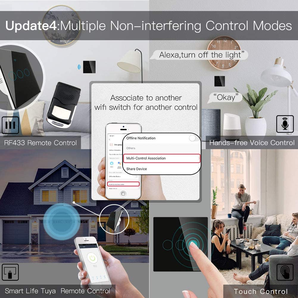 Moesgo Wifi Smart Touch Wall Switch With 1 Way Or Multi Control Association 2 Way Relay Status Optional Used With Smart Life Tuya App Rf433 Remote Control Alexa And Google Home Black 3 Gang Amazon Co Uk Diy Tools