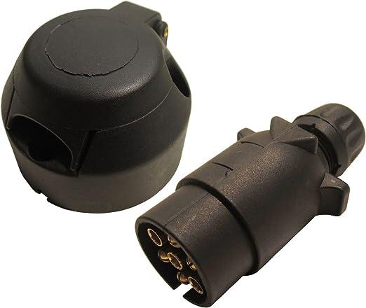 AB Tools 7 pin N Socket with Fog Light Cut Out Trailer Caravan Lights Tow Bar Electrics 12v