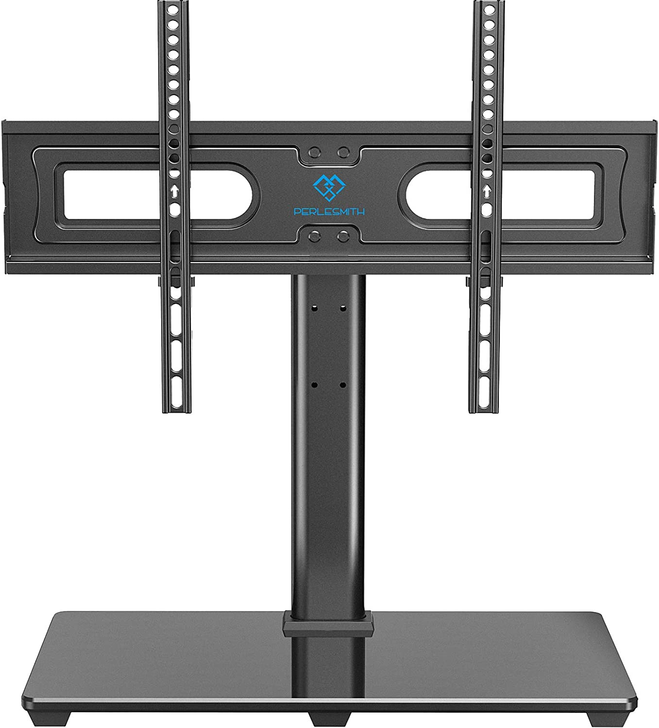 Amazon Com Perlesmith Universal Tv Stand Table Top Tv Base For 37 To 70 Inch Lcd Led Oled 4k Flat Screen Tvs Height Adjustable Tv Mount Stand With Tempered Glass Base Vesa