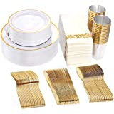 WDF 50 Guest Gold Plastic Plates with Disposable Cutlery& Gold Plastic Cups-Party Plates and Napkins Sets for Wedding…