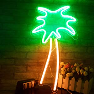 "Coconut Palm Tree Neon Signs LED Neon Lights with Battery Powered/USB for Christmas Art Wall Decor Room Wall Kids Bedroom Birthday Party Bar Decor 18.9""x7.8"" (Green Palm Tree)"