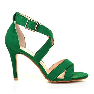 SOPHIE Green Suede Strappy High Heel Sandals: Amazon.co.uk: Shoes ...