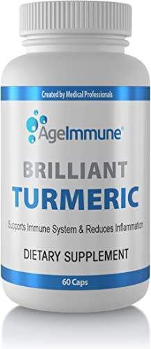 Brilliant Turmeric Curcumin 1000 mg Anti-Inflammatory Organic Herbal Supplement with Black Pepper as Bioperine. Non-GMO. 60 Capsules