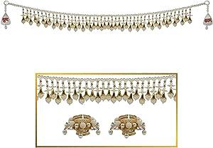 "HATHKAAM 36"" Pearl Beaded Toran Diya Shubh Labh Hanging Combo for Diwali Decoration Decor Main Front Door Toran and Diyas Made by Indian Artisans to Lighten Traditional Deepavali Laxmi Pooja HKDT011"