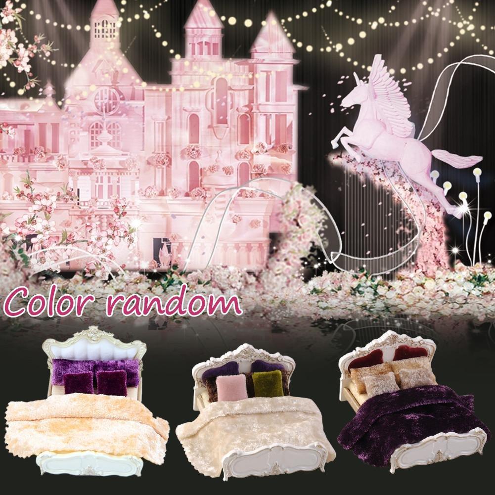 Barbie Bett Puppenhaus für barbie Möbel Bett 1//25 Mini Quilt Bett*1 Blatt Kissen Set für Barbie Puppen Haus Schlafzimmer//Wohnzimmer Deko Zubehör Beatie 1,Kissen 4